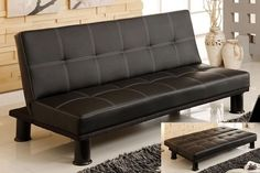 Black leather Black Futon, Grey Futon, Futon Bedroom, Daybed, Sofa Couch Bed