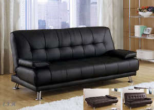 NEW-BENSON-BLACK-OR-BROWN-BYCAST-LEATHER-FUTON-