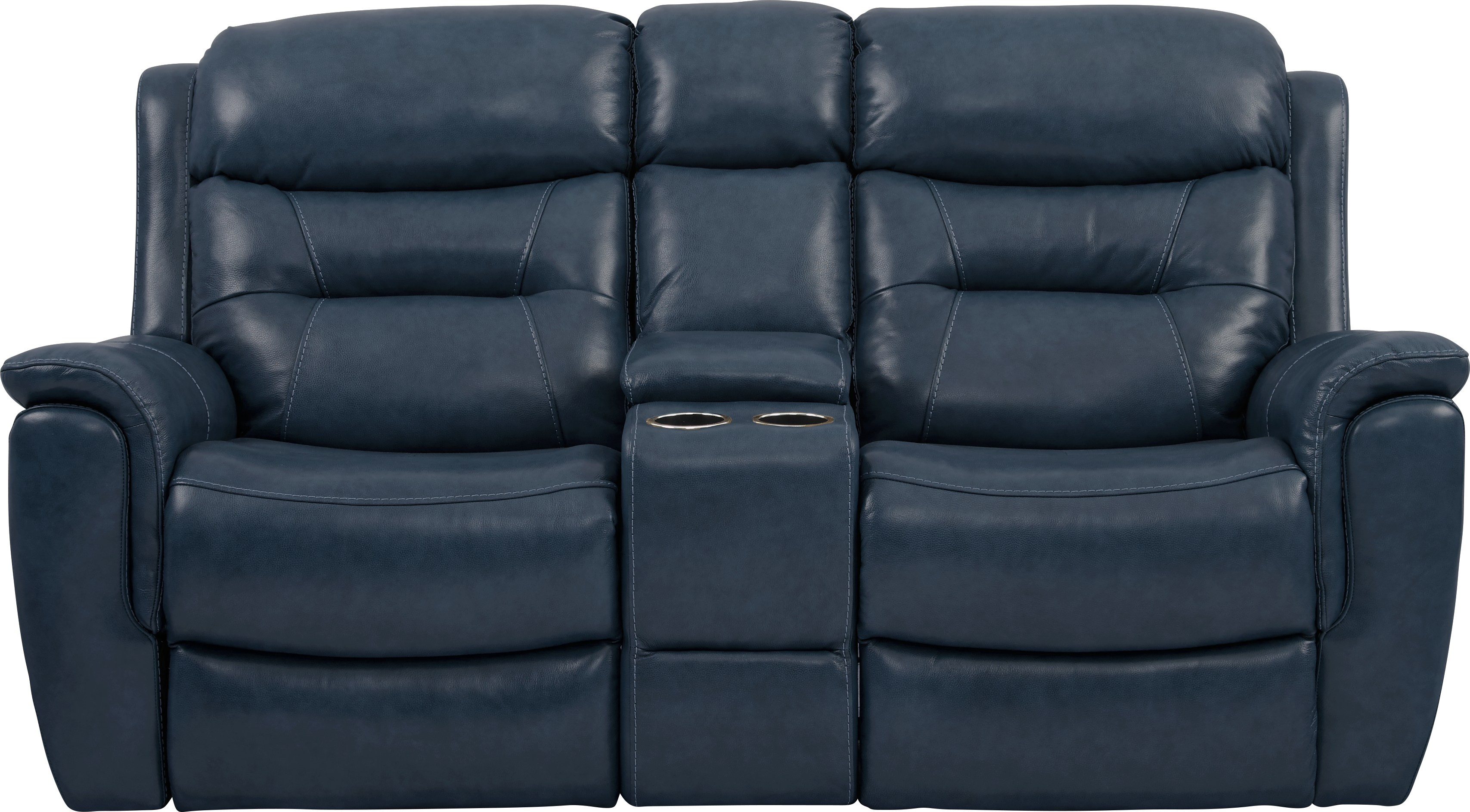 Sabella Navy Leather Reclining Console Loveseat - Leather Loveseats (Blue)