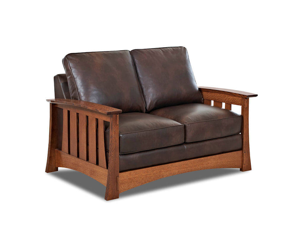 American Made Mission Style Leather Loveseat Highalnds CL7016LS