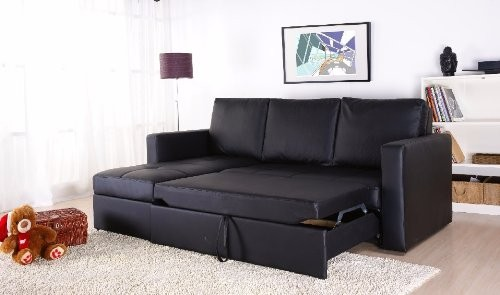 Black Faux Leather Sectional Sofa Bed with Left Facing Storage Chaise