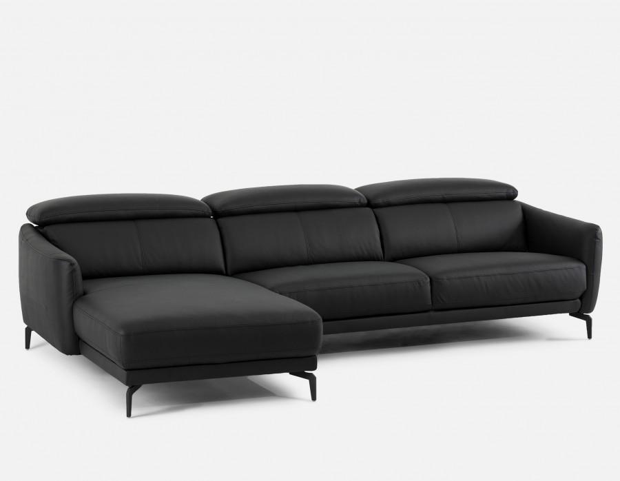 BRUGE - Leather Sectional Sofa Left - Black
