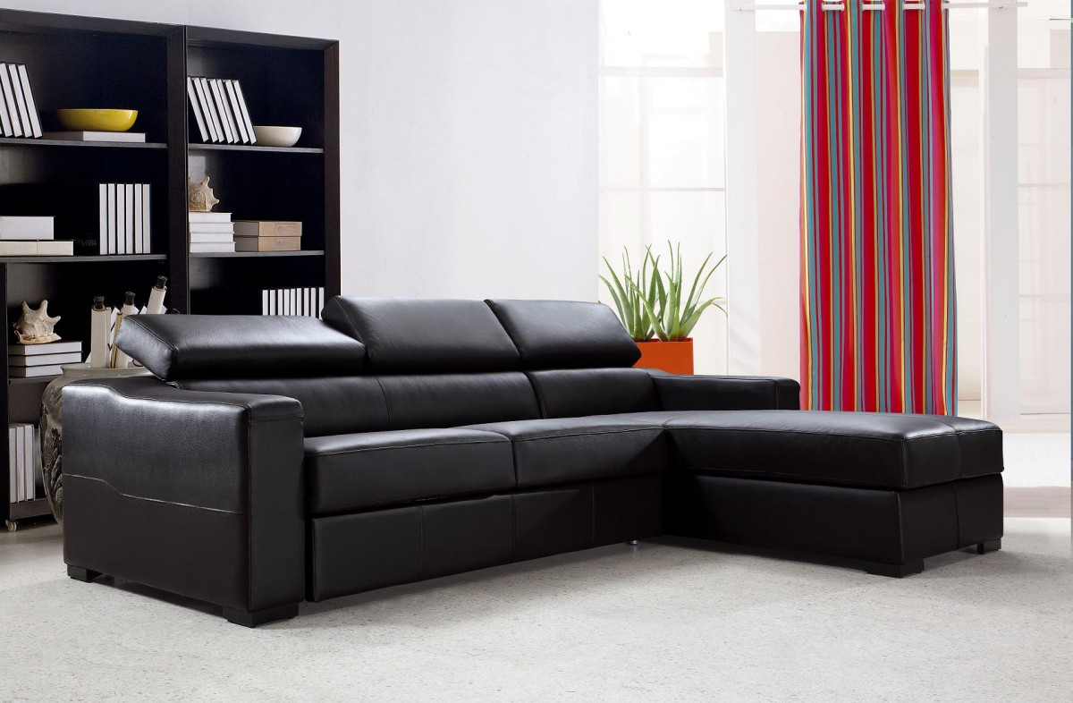 1PerfectChoice Reversible Espresso Leather Sectional Sofa Bed with Storage  - Traveller Location