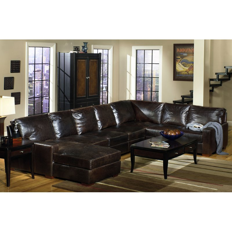 Brown Contemporary 4 Piece Leather Sectional Sofa - Mayfair | RC Willey  Furniture Store