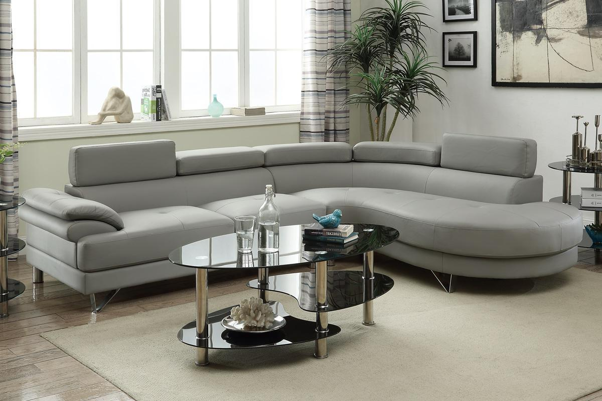 Grey Leather Sectional Sofa - Steal-A-Sofa Furniture Outlet Los Angeles CA