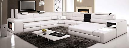White Contemporary Italian Leather Sectional Sofa