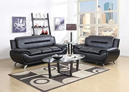 GTU Furniture Contemporary Bonded Leather Sofa & Loveseat Set, 2 Piece Sofa  Set (BLACK