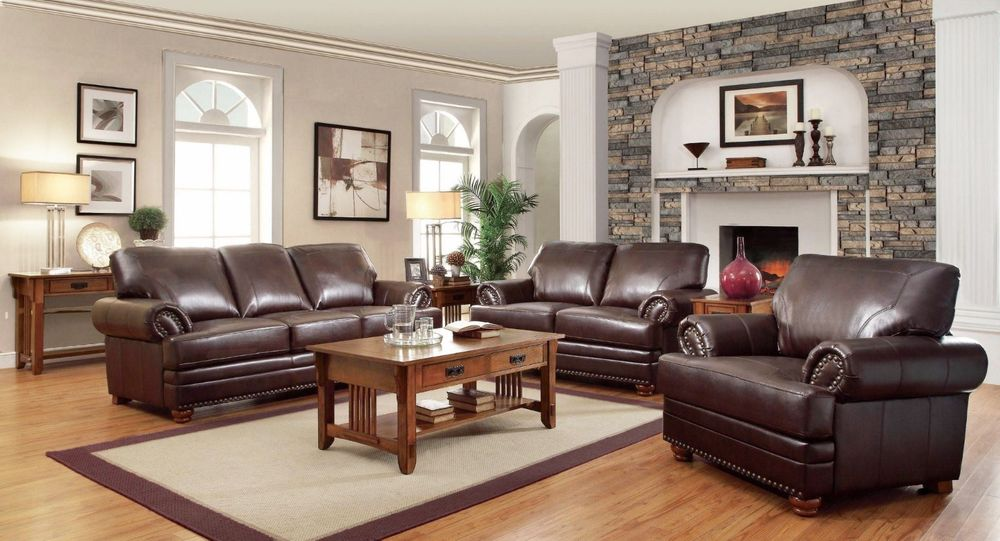 Traditional Brown Bonded Leather Sofa & Loveseat Living Room Set NailHead  Trim | eBay