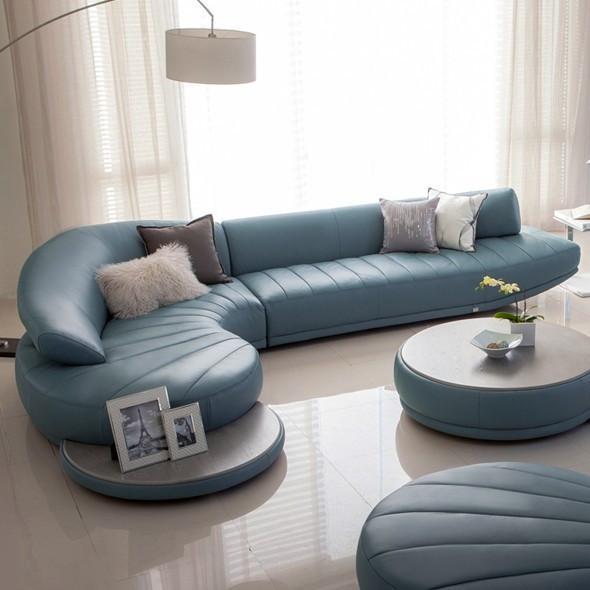 Modern Leather Sofa Set, Living Room Furniture, White, Red, Blue-Living