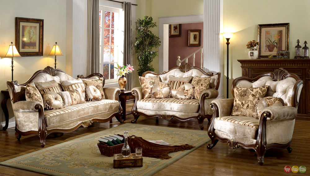 French Provincial Formal Antique Style Living Room Furniture Set Beige  Chenille | eBay
