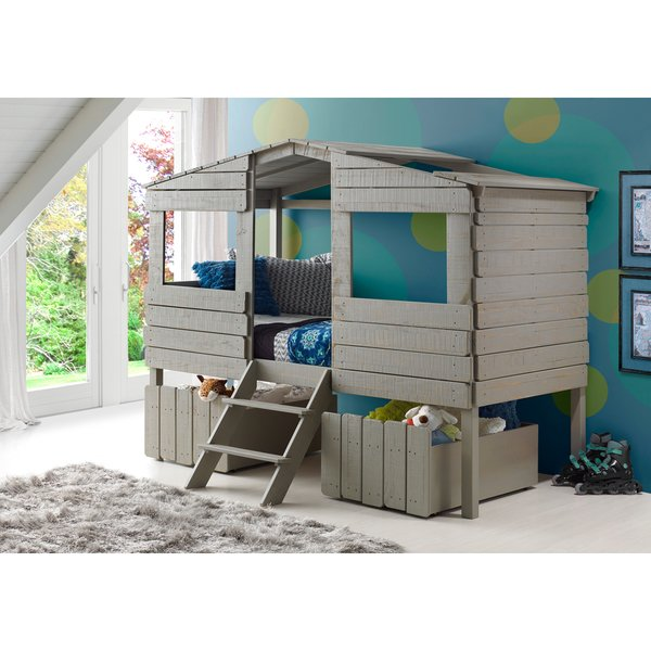 Shop Donco Kids Rustic Grey Finished Pine Wood Twin Tree House Loft Bed  with Under-bed Drawers - On Sale - Free Shipping Today - Overstock -  13155556