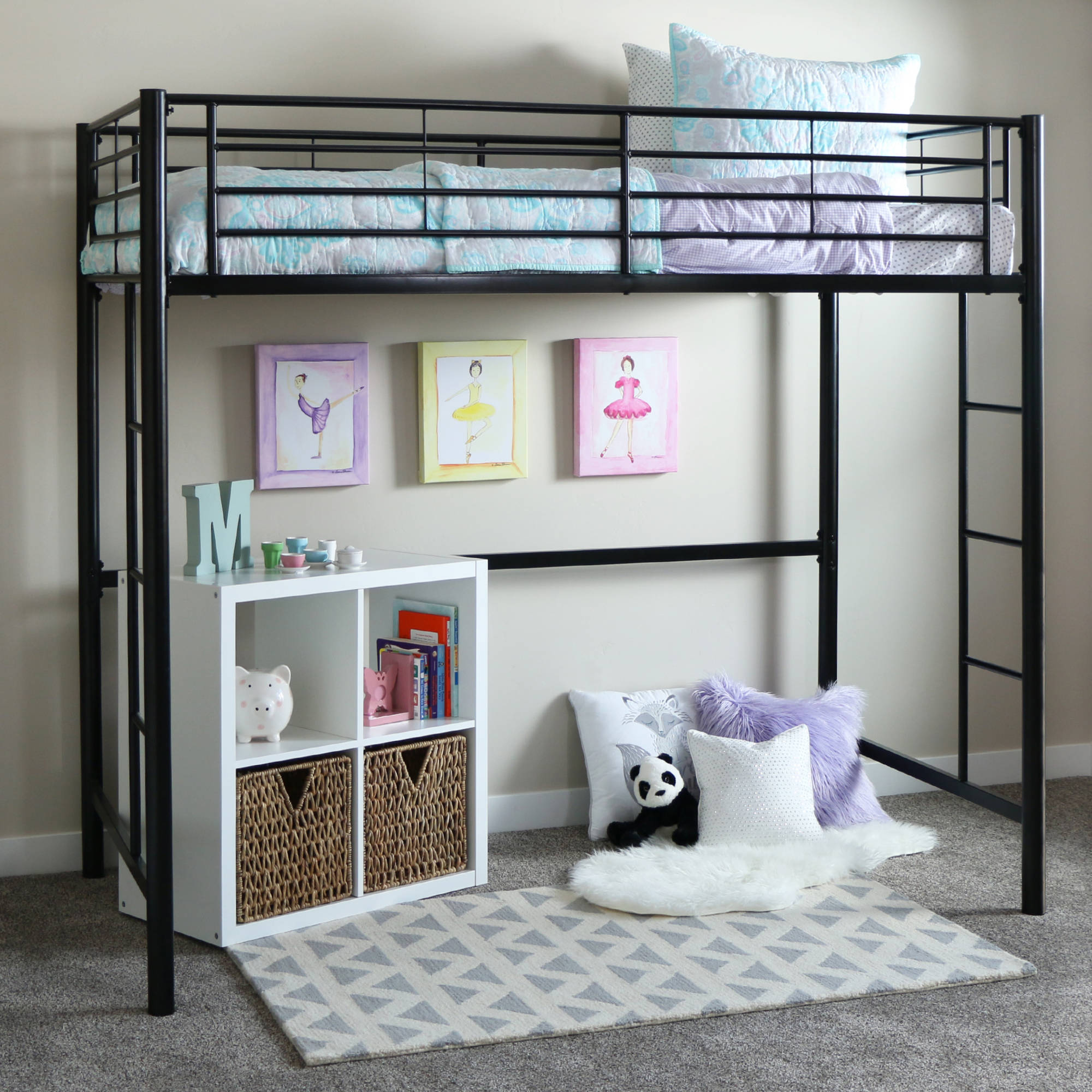 Product Image Walker Edison Twin Metal Loft Bed - Black (Multiple Colors  Available)