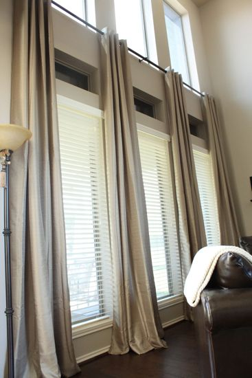 window treatments for tall windows ideas | Inexpensive Ready Made Extra Long  Curtains! {Before & After: Decor .