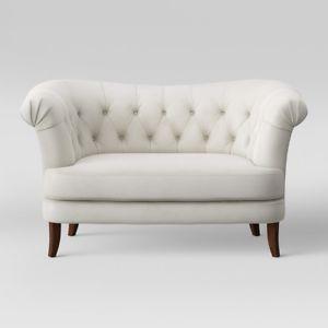 Image is loading Tufted-Loveseat-Sofa-Settee-Couch-Furniture-Velvet-Living-