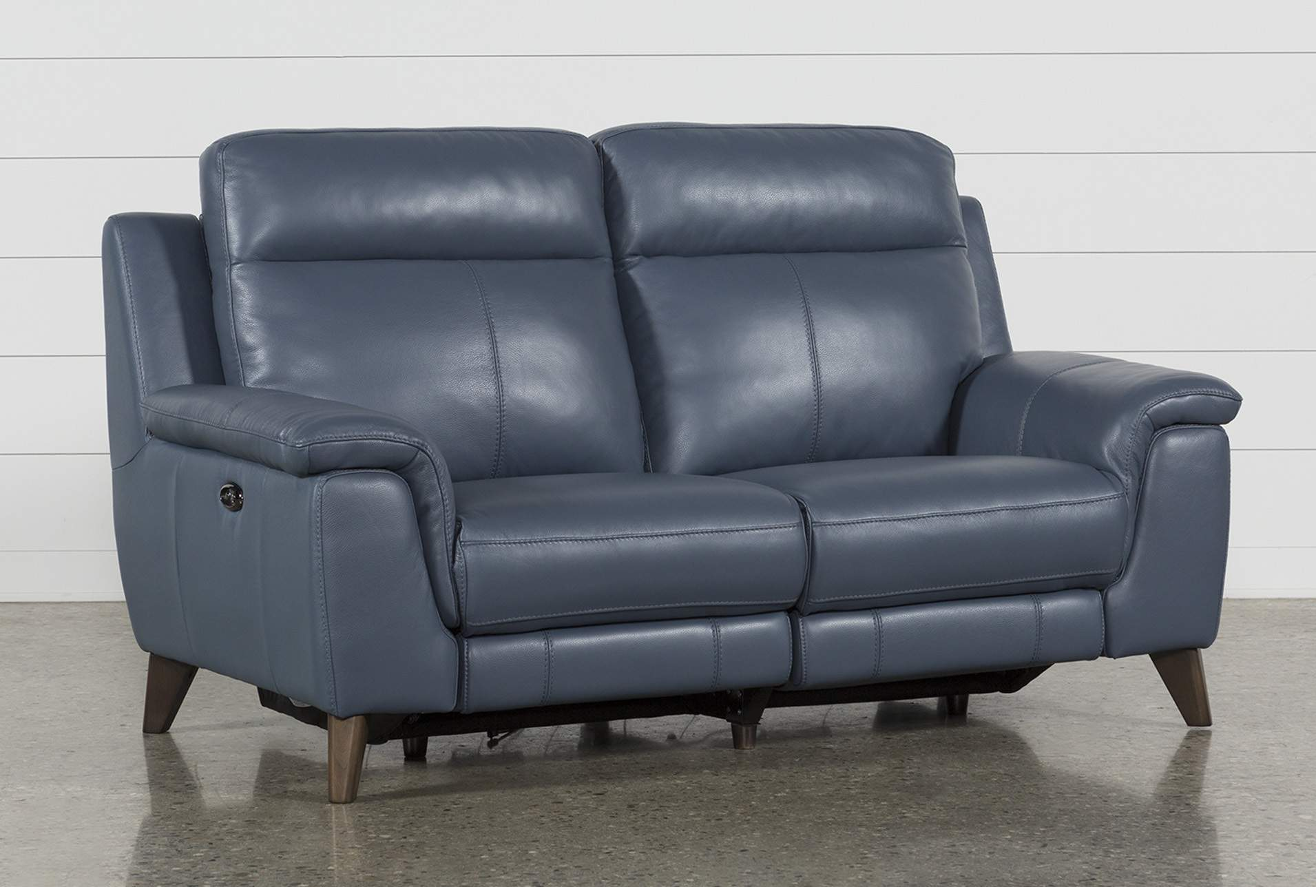 Moana Blue Leather Dual Power Reclining Loveseat With Usb | Living Spaces