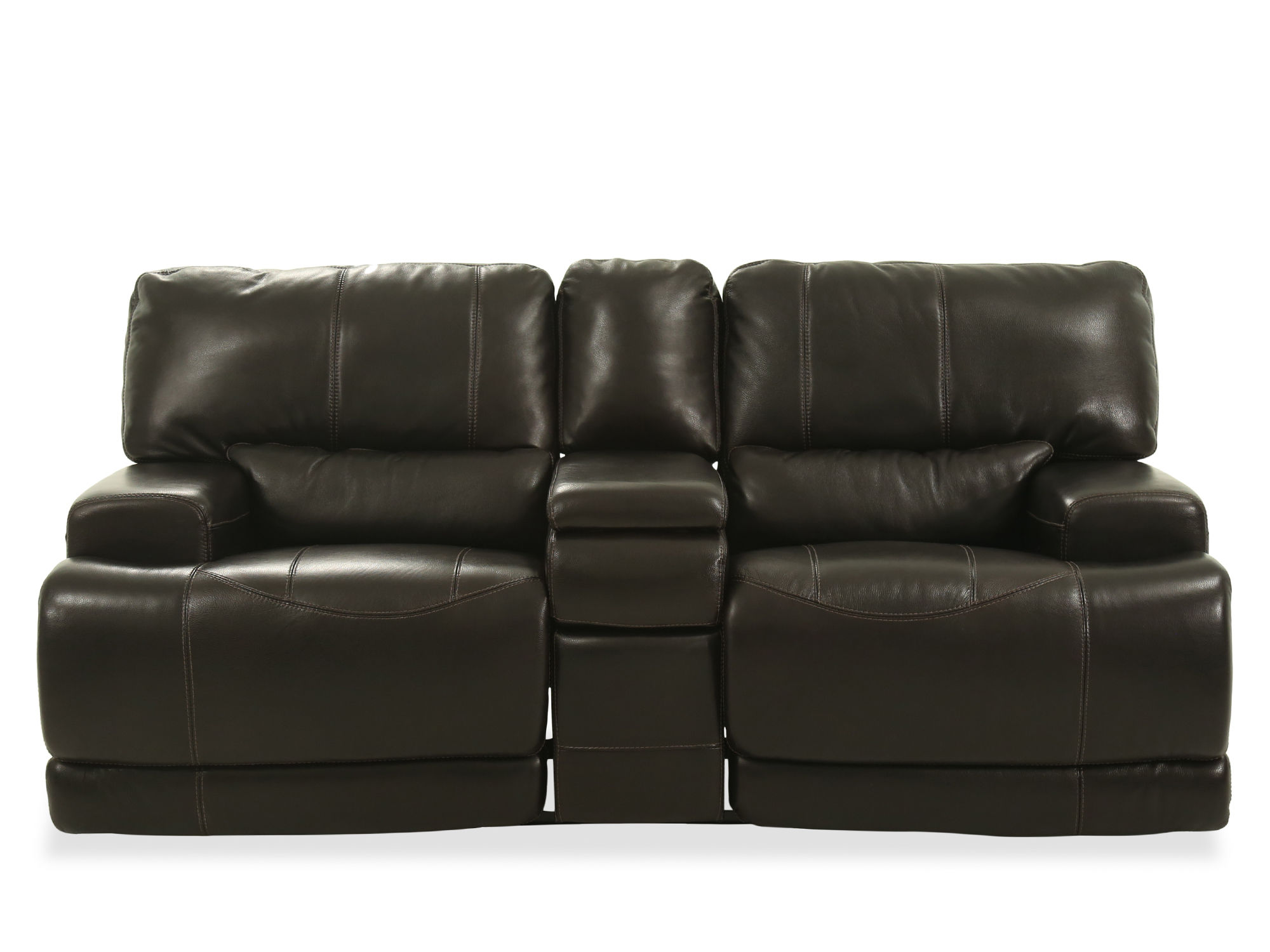 "Power Reclining Traditional Leather 80"" Loveseat in Blackberry"