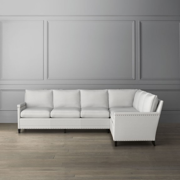 Addison 2-Piece L-Shaped Loveseat Sectional with Nailheads, Right