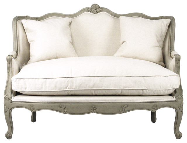 Adele French Country Distressed Sage Green and White Settee Loveseat -  Traditional - Sofas - by Kathy Kuo Home