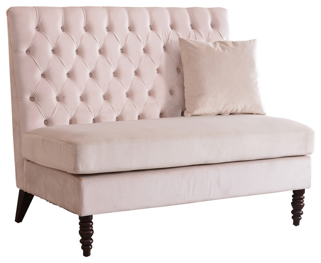 Velvet Tufted High Back Loveseat Settee, Beige