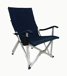 World Outdoor Products NEW RUSTPROOF DESIGN Luxury NAVY BLUE Lightweight  ALUMINUM Folding LAWN CHAIR Featuring Washable