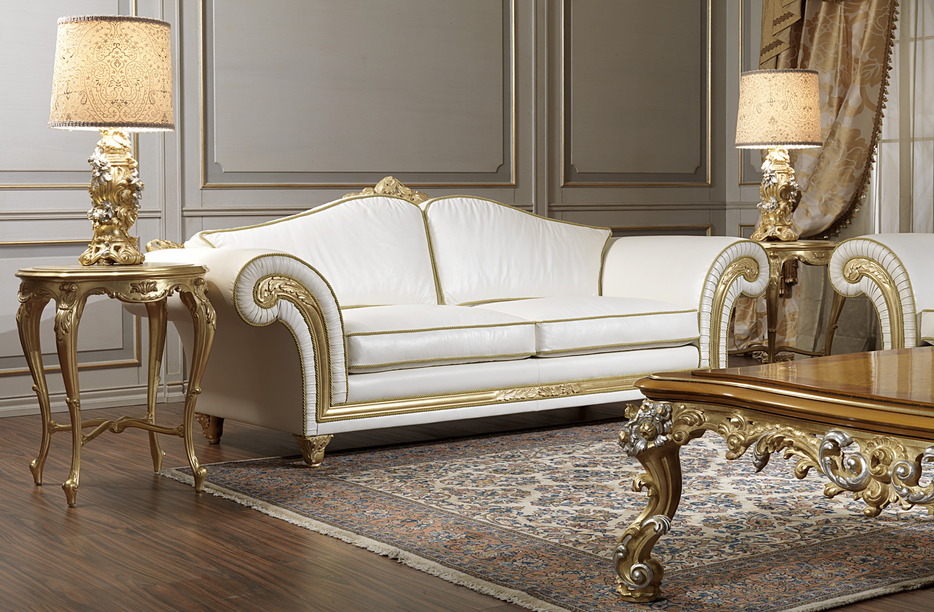 Luxury sofas in leather and gold