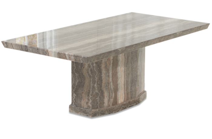 Calvera 200cm Brown Pedestal Marble Dining Table