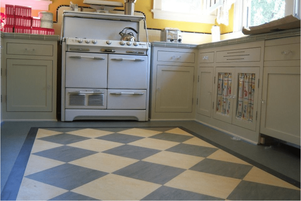 Marmoleum floor installed in kitchen
