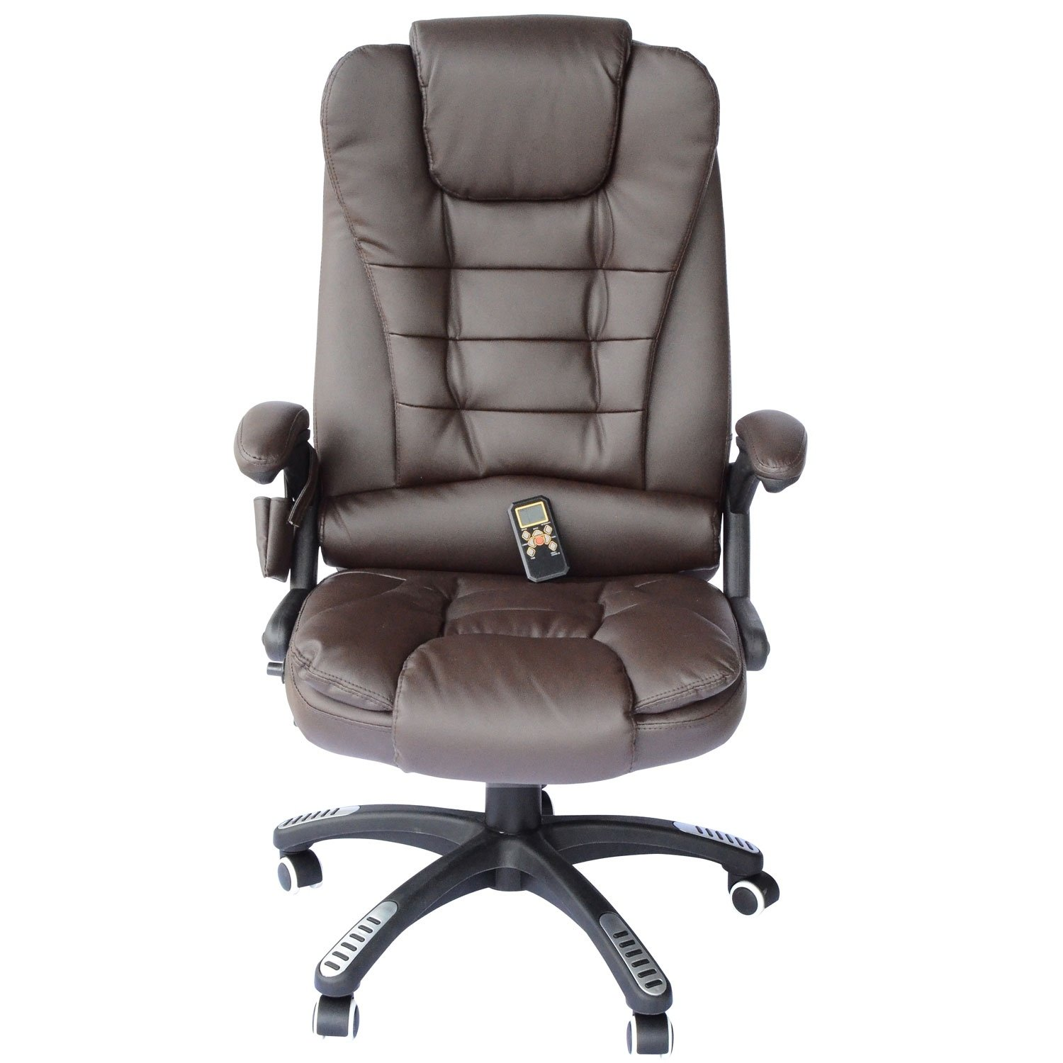 Shop HomCom Executive Ergonomic Heated Vibrating Massage Office Chair-  Brown - Free Shipping Today - Overstock - 18088215