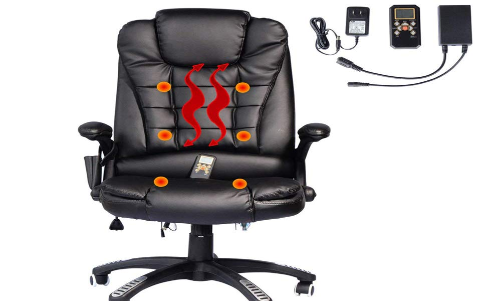faux leather back executive heated massage office chair