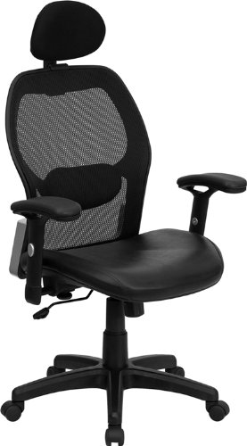 High Back Super Mesh Office Chair with Black Italian Leather Seat [LF-W42B-