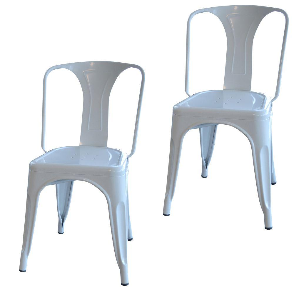 AmeriHome White Metal Dining Chair (Set of 2)-BS3530WSET - The Home Depot