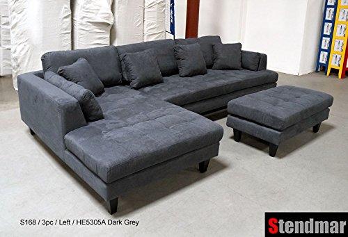 Traveller Location: 3pc Contemporary Dark Grey Microfiber Sectional Sofa Set  S168LDG: Kitchen & Dining
