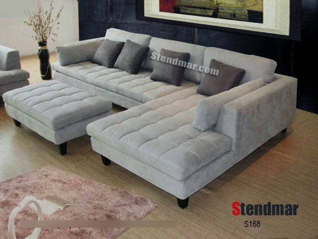 3-Pc Modern Grey Microfiber Sectional Sofa Set S168RG for sale online | eBay