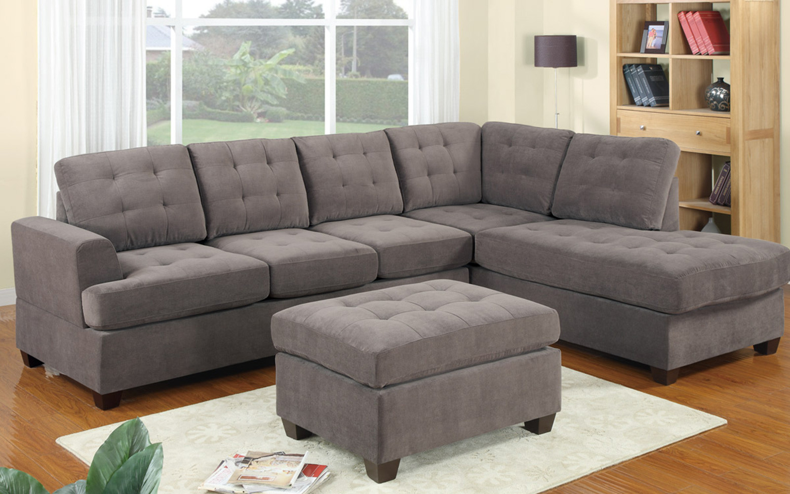 2 Piece Modern Reversible Grey Tufted Microfiber Sectional Sofa with  Ottoman - Traveller Location