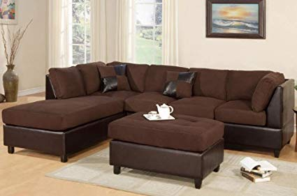 Image Unavailable. Image not available for. Color: Poundex New Chocolate  Microfiber Leatherette Sectional Sofa