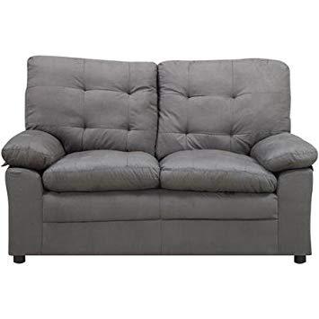 Amazon.com: Microfiber Gray Loveseat, This Comfortable Grey Loveseat