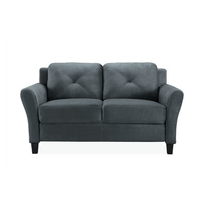 Harlow Tufted Microfiber Loveseat With Rolled Arms In Dark Gray