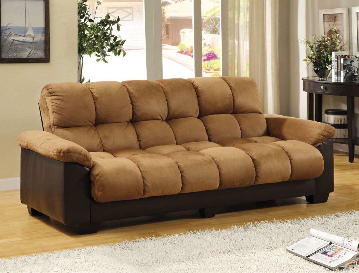 Tan Microfiber Sofa Bed Futon
