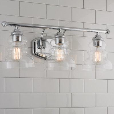 Modern Ridged Shade Bath Light - 3 Light