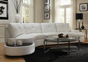 Image is loading Modern-Curved-Sectional-Sofa-Built-in-Side-Table-