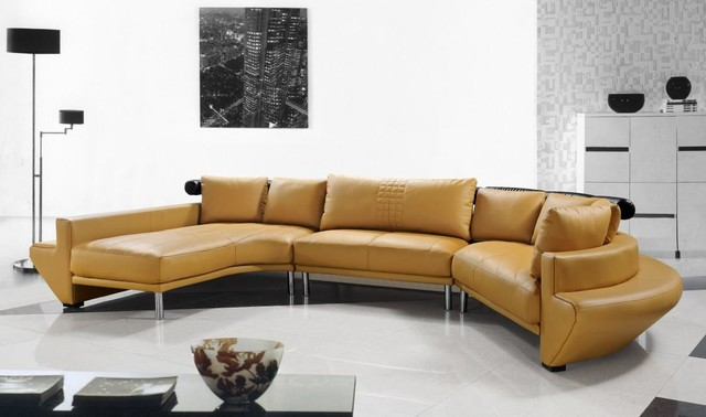 Contemporary Curved Sectional Sofa in Mustard Leather modern-living-room