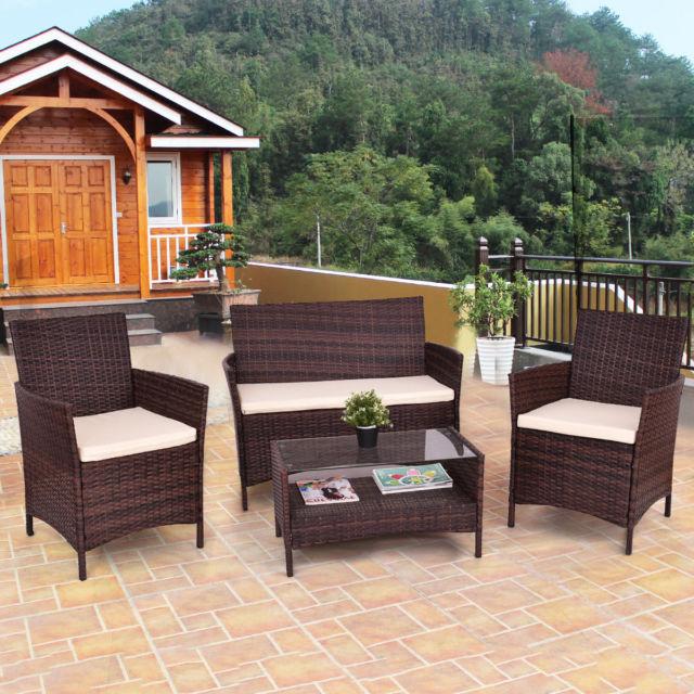 Buy Giantex 4pc Outdoor Patio PE Rattan Wicker Coffee Table Modern