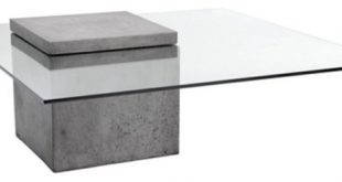 Modern Glass Coffee Table With Polished Concrete - Industrial