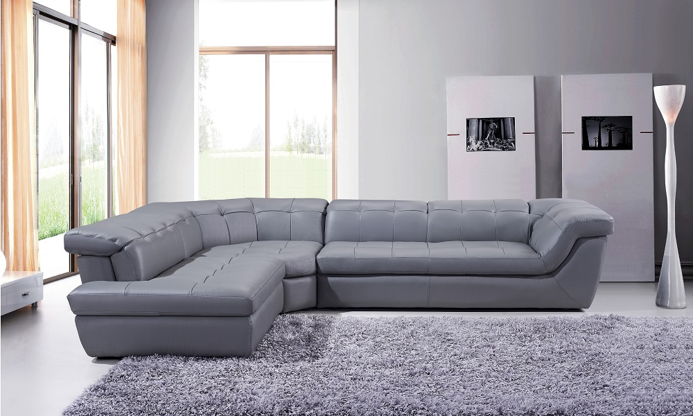 Genuine and Italian Leather, Corner Sectional Sofas. Leather Upholstered  Contemporary