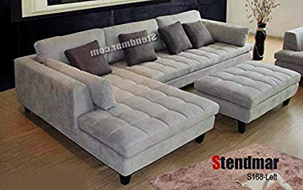 Image Unavailable. Image not available for. Color: 3pc Contemporary Grey  Microfiber Sectional Sofa