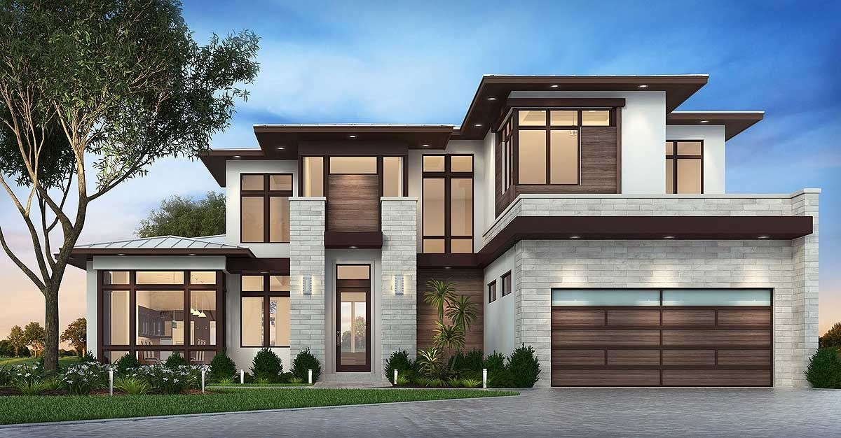 Master Down Modern House Plan with Outdoor Living Room - 86039BW    Contemporary, Florida, Modern, 1st Floor Master Suite, CAD Available,