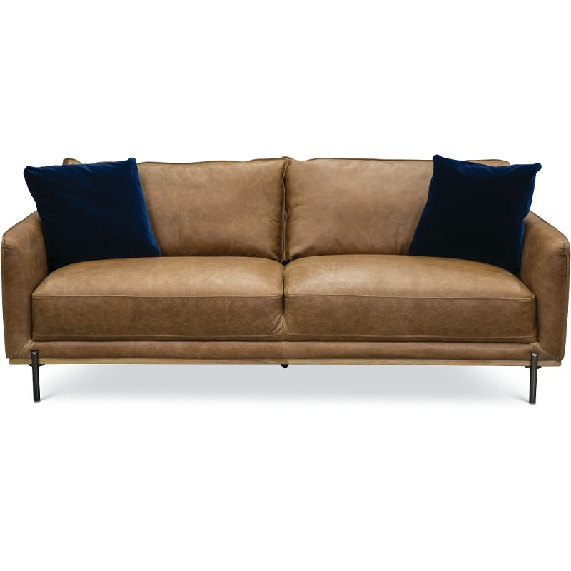 Mid-Century Modern Camel Brown Leather Sofa - Marseille | RC Willey  Furniture Store