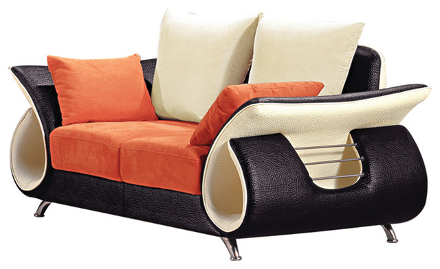 Orange And Black Modern Loveseat - Contemporary - Loveseats - by Titanic  Furniture Inc.