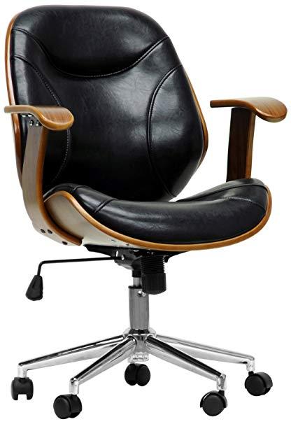 Amazon.com: Baxton Studio Rathburn Modern Office Chair, Walnut/Black
