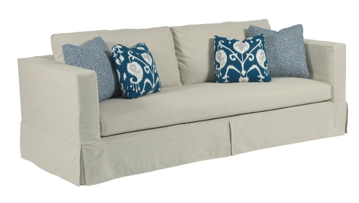 Modern Slipcover Sofa with Kick Pleat Skirt